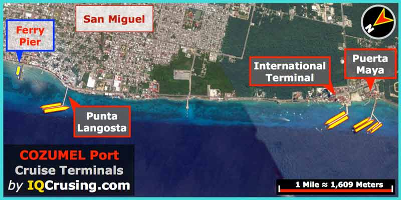 Overview | Cozumel (Mexico) Cruise Port Guide | IQCruising on map of playa del carmen, map of cancún, map of culiacan, map of belize, map of yaxchilan, map of mexico, map of grand cayman, map of the bay islands, map of jamaica, map of roatan, map of michoacán, map of yucatan, map of puerto rico, map of puerto vallarta, map of puerto aventuras, map of mayreau, map of costa maya, map of riviera maya, map of veracruz, map of bahia de banderas,