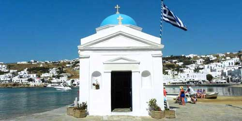 Panoramic Photo of Church in Mykonos Cruise Port